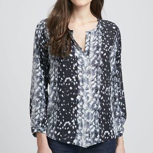 Joie 'Purine' Animal Print Silk Long Sleeve Blouse